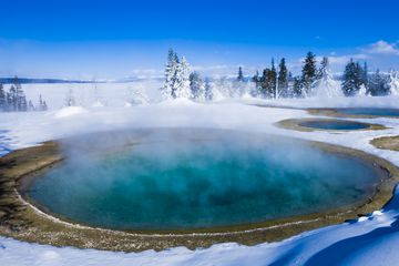 United States, Wyoming, Yellowstone National Park in winter, thermal pools