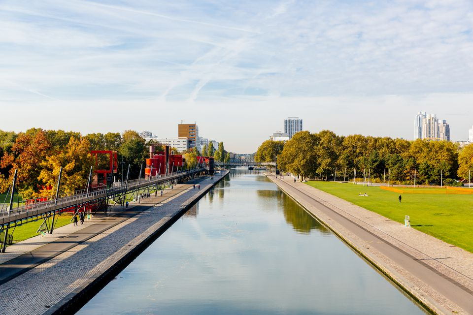 Parc de la Villette and water canal elevated view, Paris, France