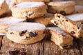 British biscuits: Welsh cakes with raisins and powdered sugar