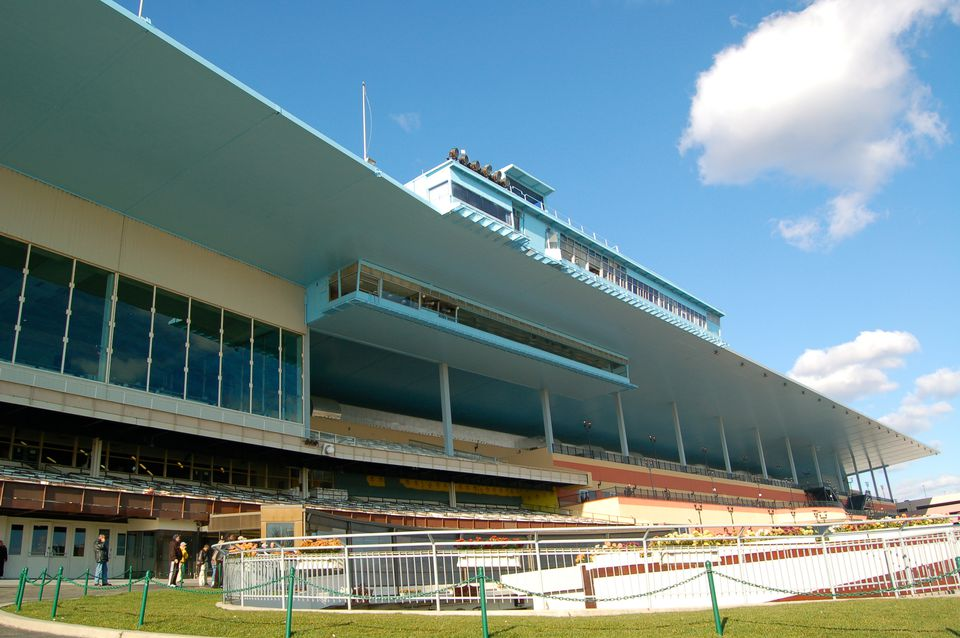 Grandstands at Aqueduct Racetrack in New York City