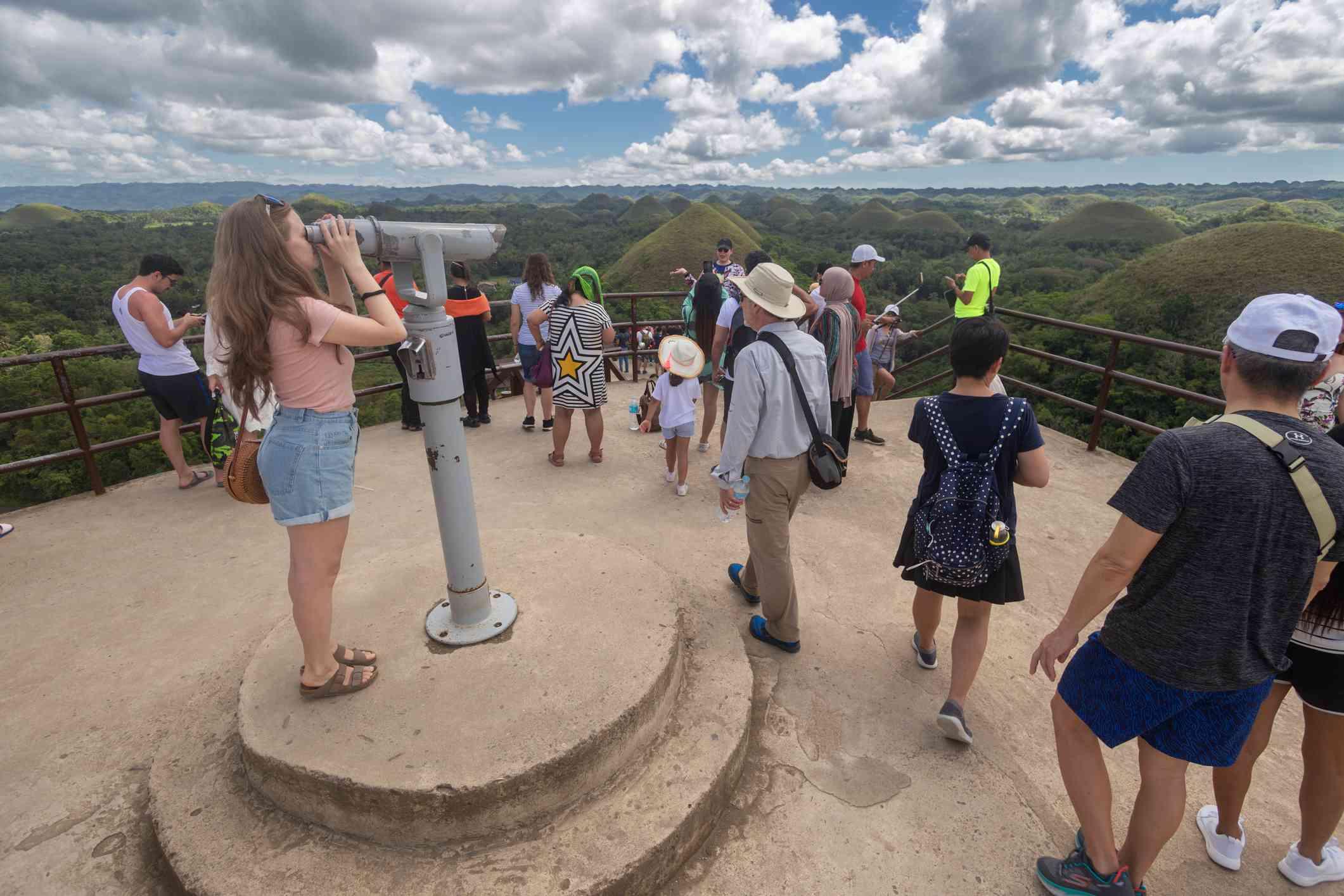 Visitors to Chocolate Hills Viewdeck, Bohol, Philippines