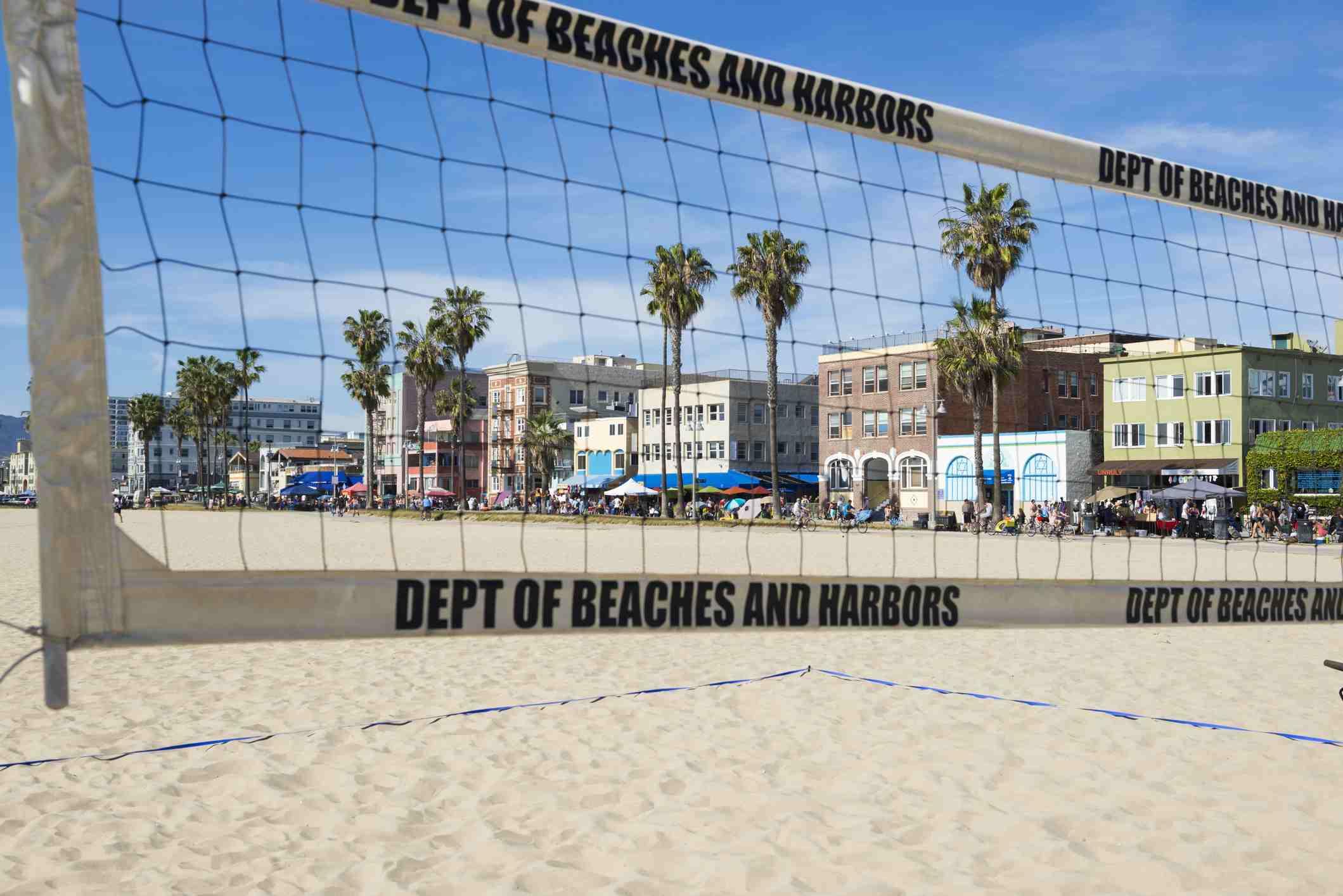 Venice Beach viewed through volleball net