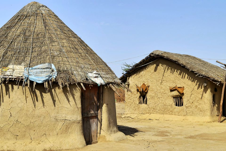 Traditional mud style hut in Kutch village.