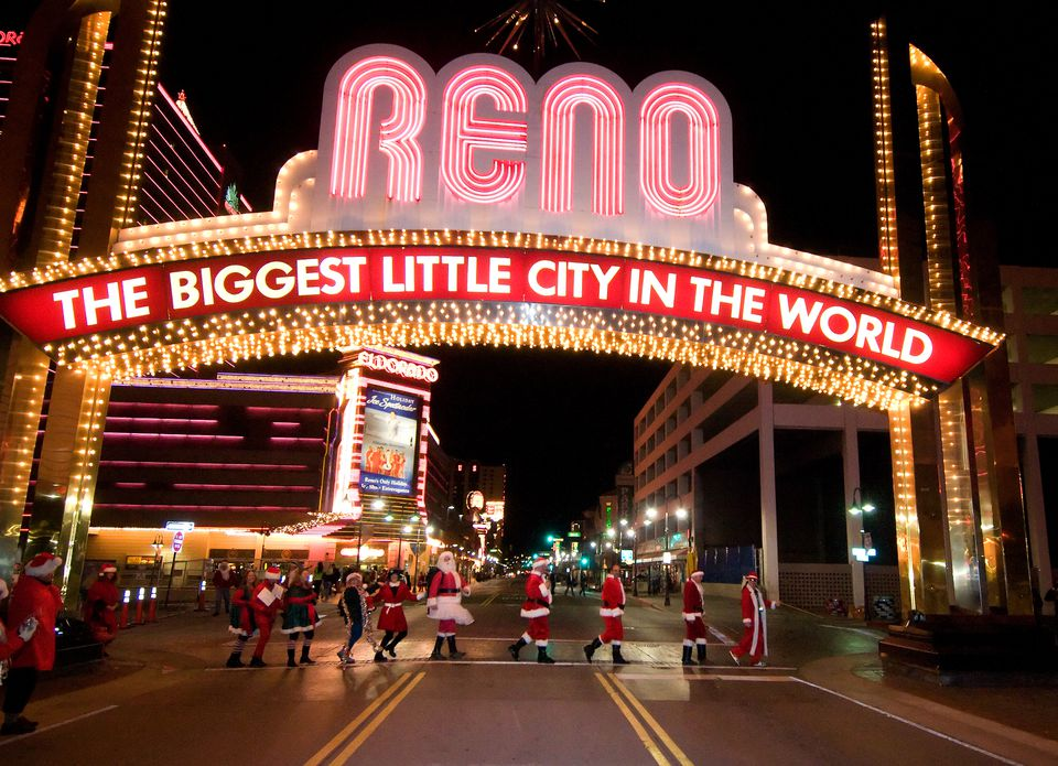 Santa Pub Crawl under Reno Sign