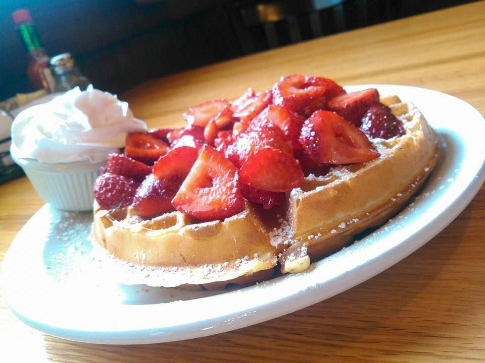Belgian waffles at Mad Rooster Cafe