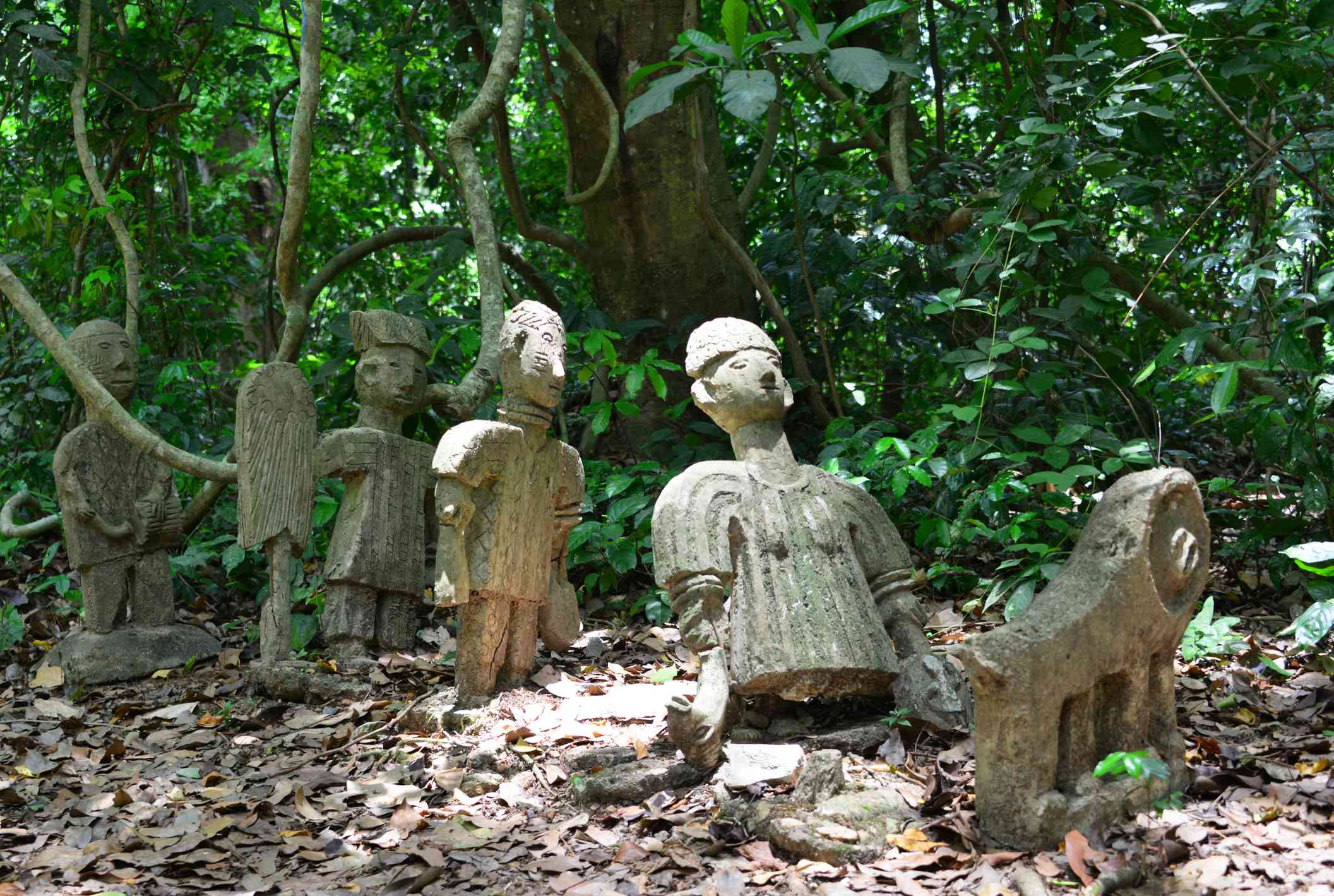 Sacred statues in the forest at Osun Sacred Grove, Nigeria
