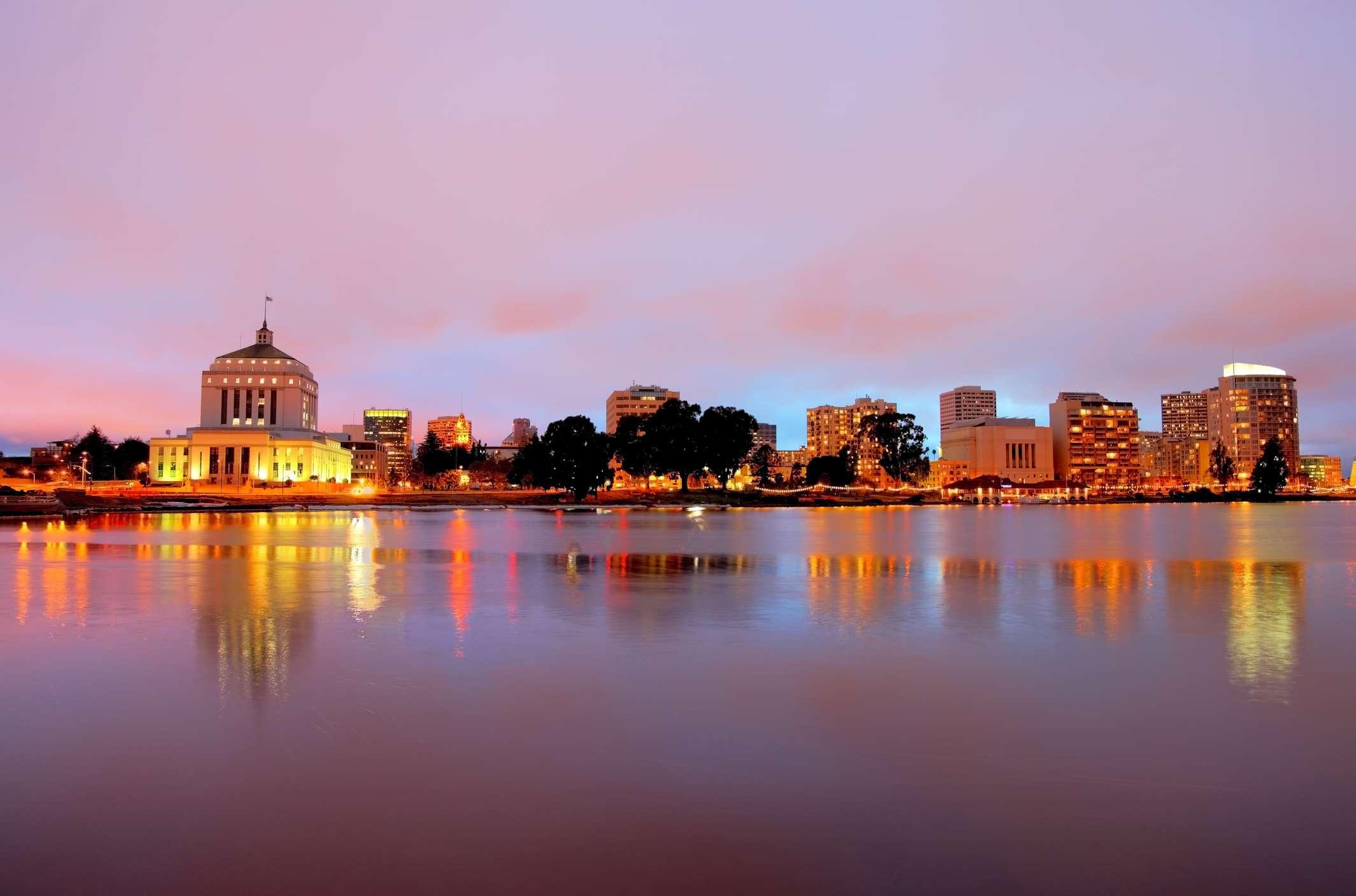 Downtown Oakland skyline along the banks of Lake Merritt