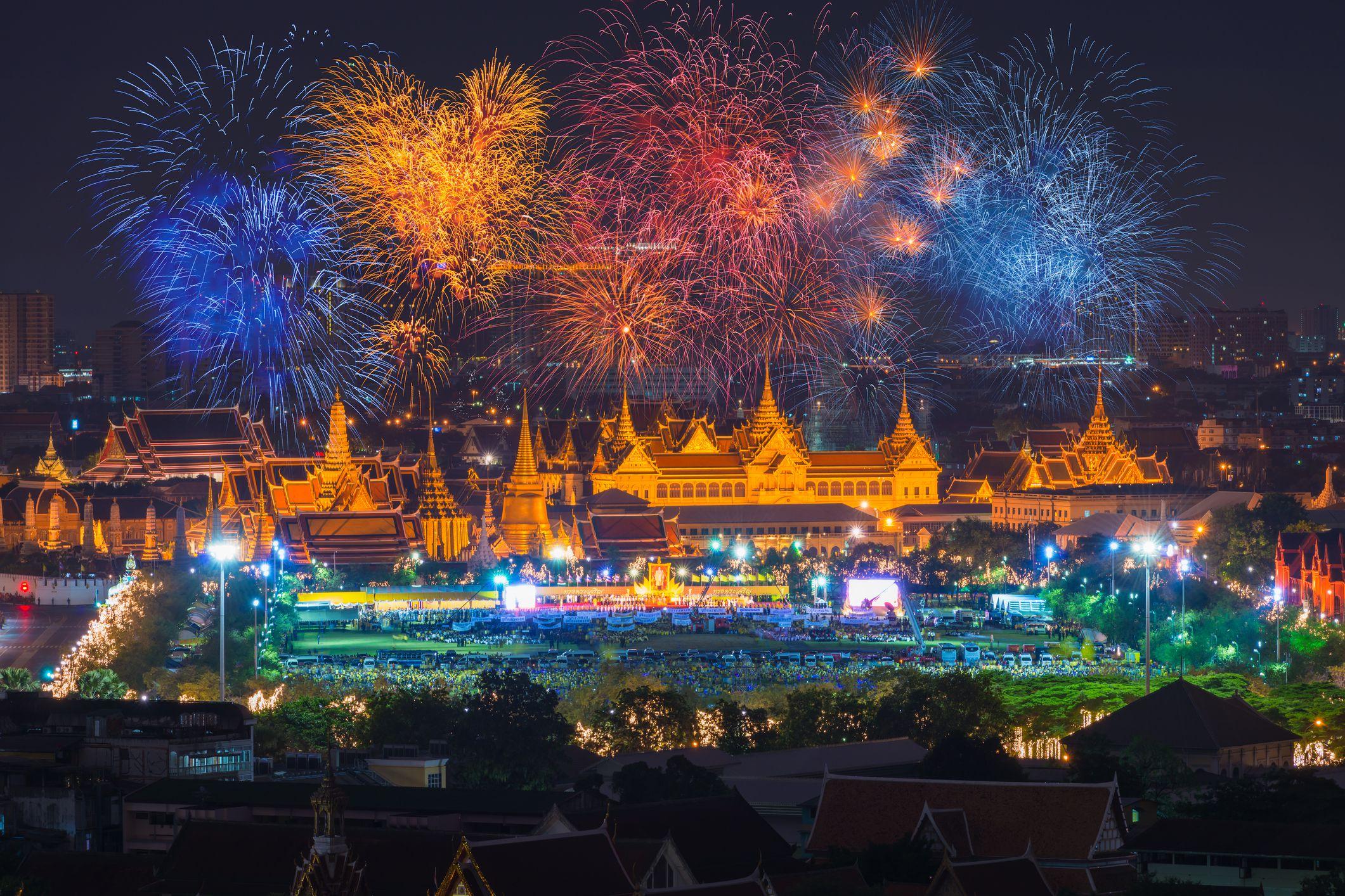 Grand palace at twilight in Bangkok during King's birthday celebration