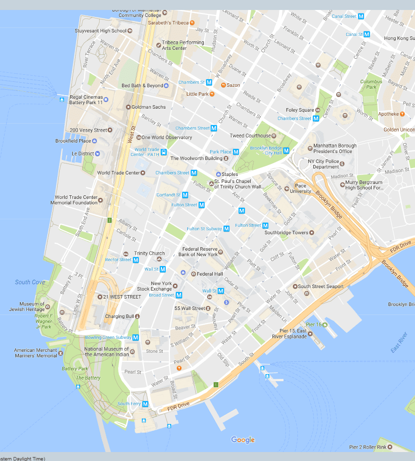 Financial District Neighborhood New York City Map