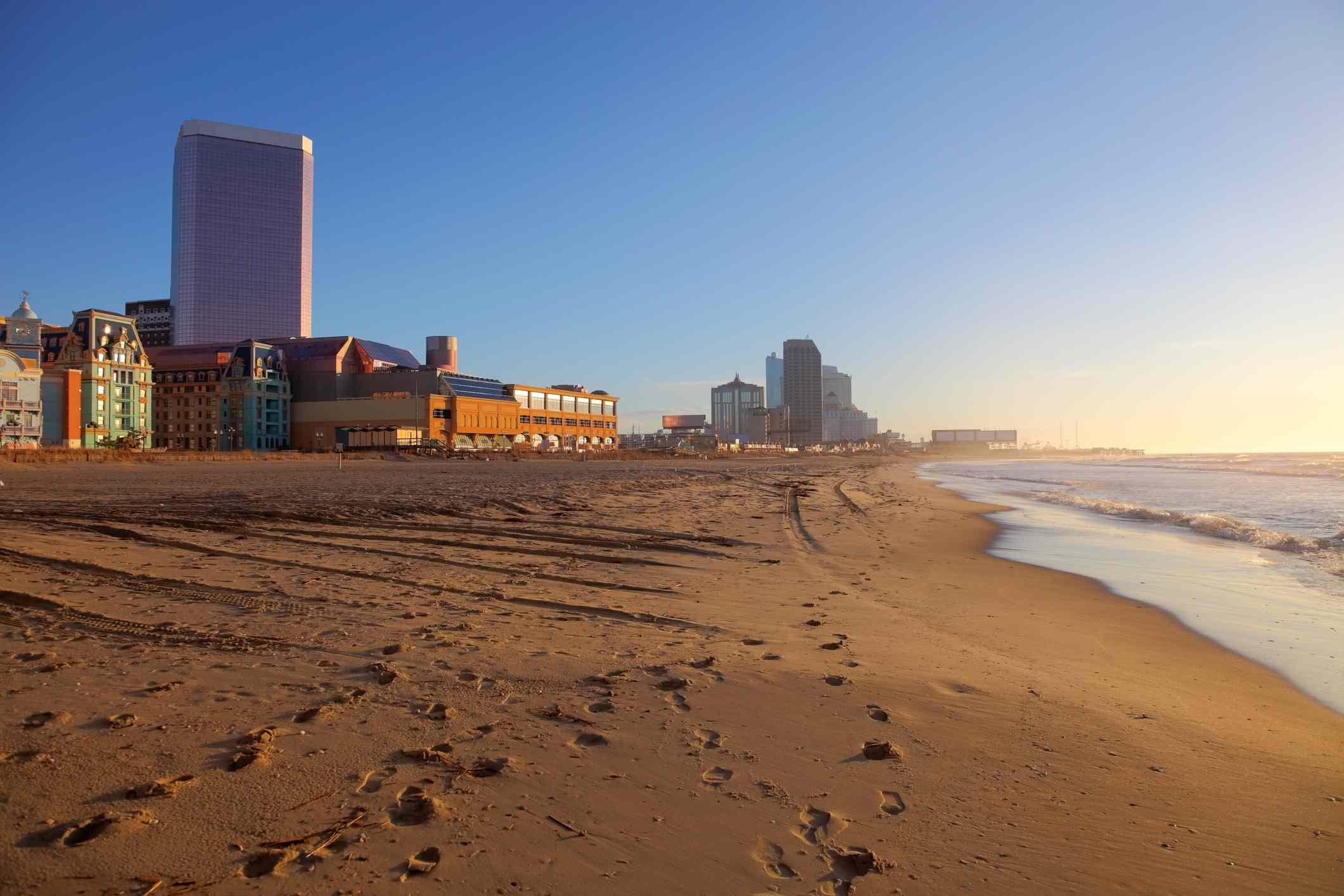 Atlantic City coastline with hotels