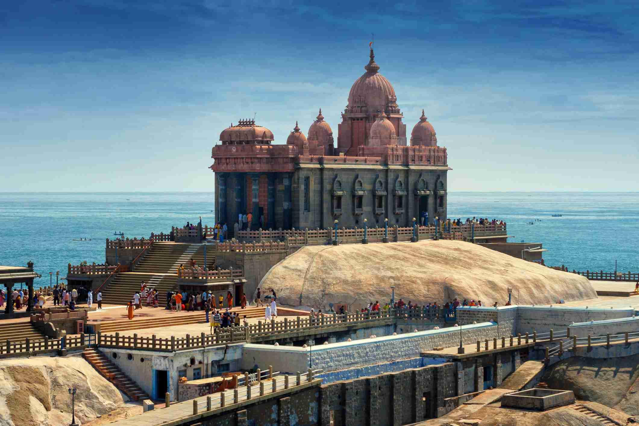 Swami Vivekananda Memorial center situated on a small rock island in Kanyakumari, India
