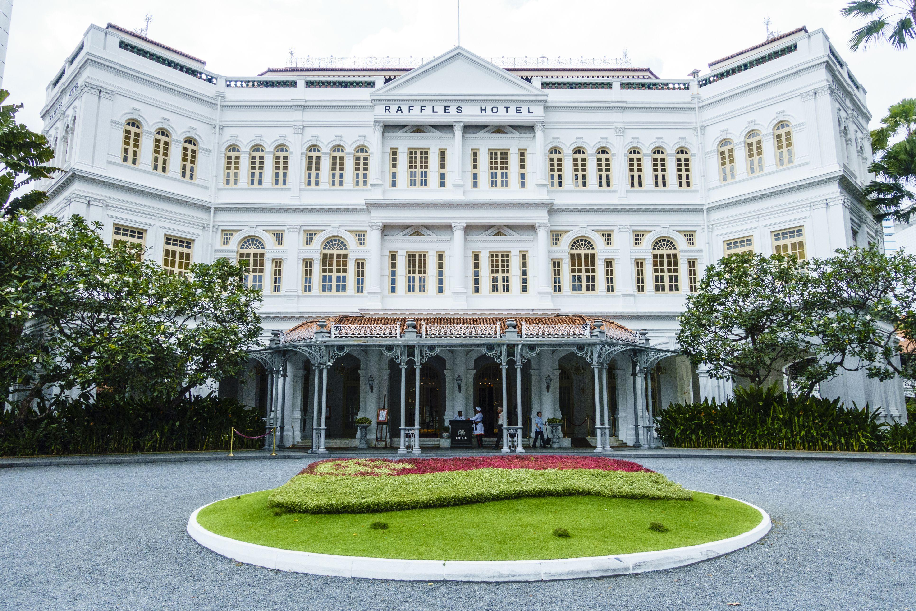 El famoso Raffles Hotel, un hito de Singapur, Singapur, Sudeste de Asia, Asia