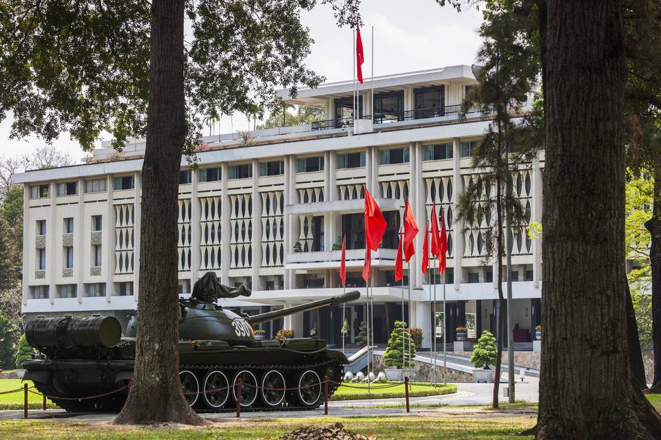 T-72 tank parked outside Independence Palace, Saigon, Vietnam