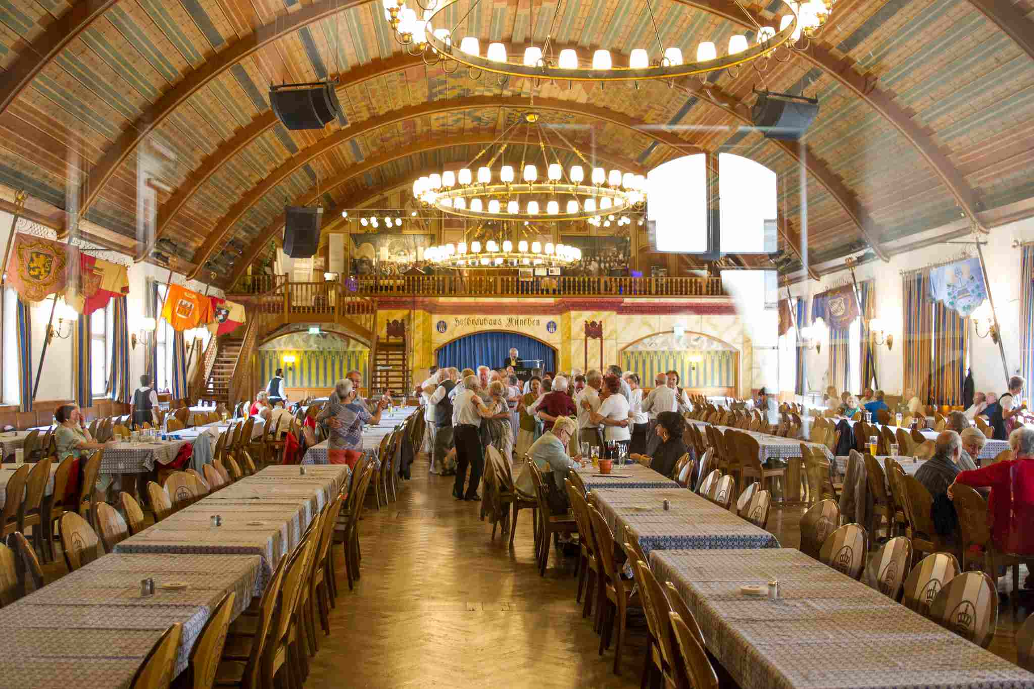 Tables lined up at the Hofbräuhaus in Munich, Germany.