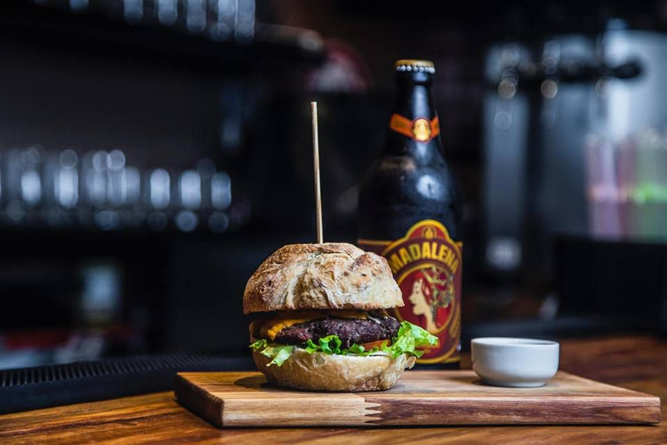 Burger and beer from Veganbites