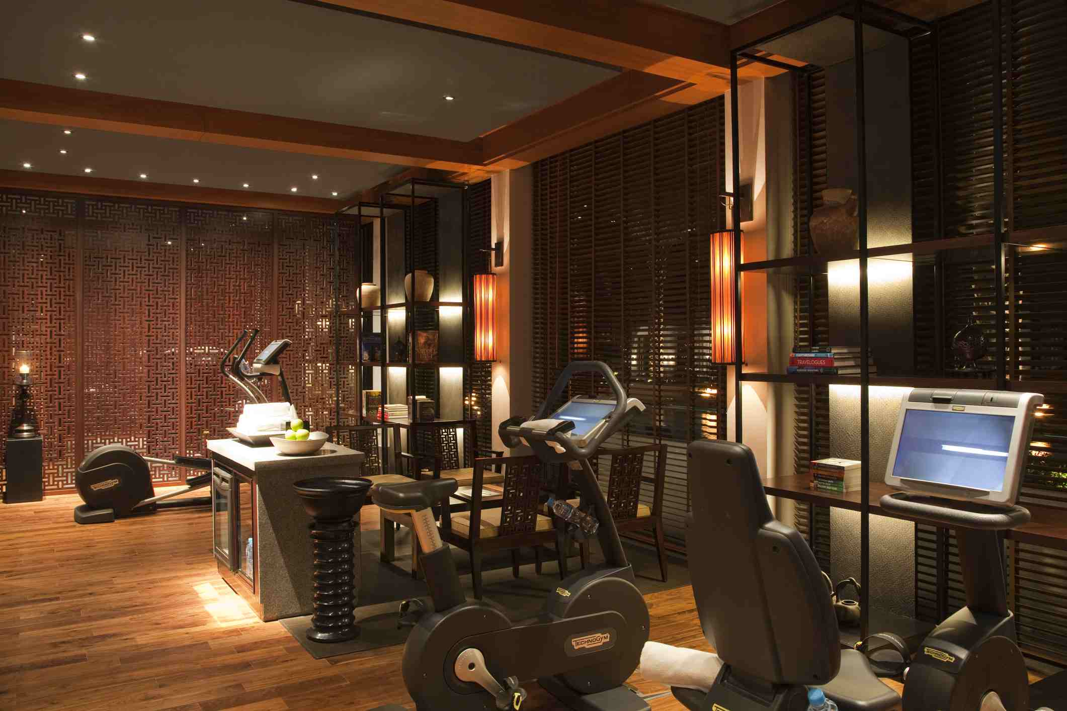 Gym at Chedi Muscat Hotel.