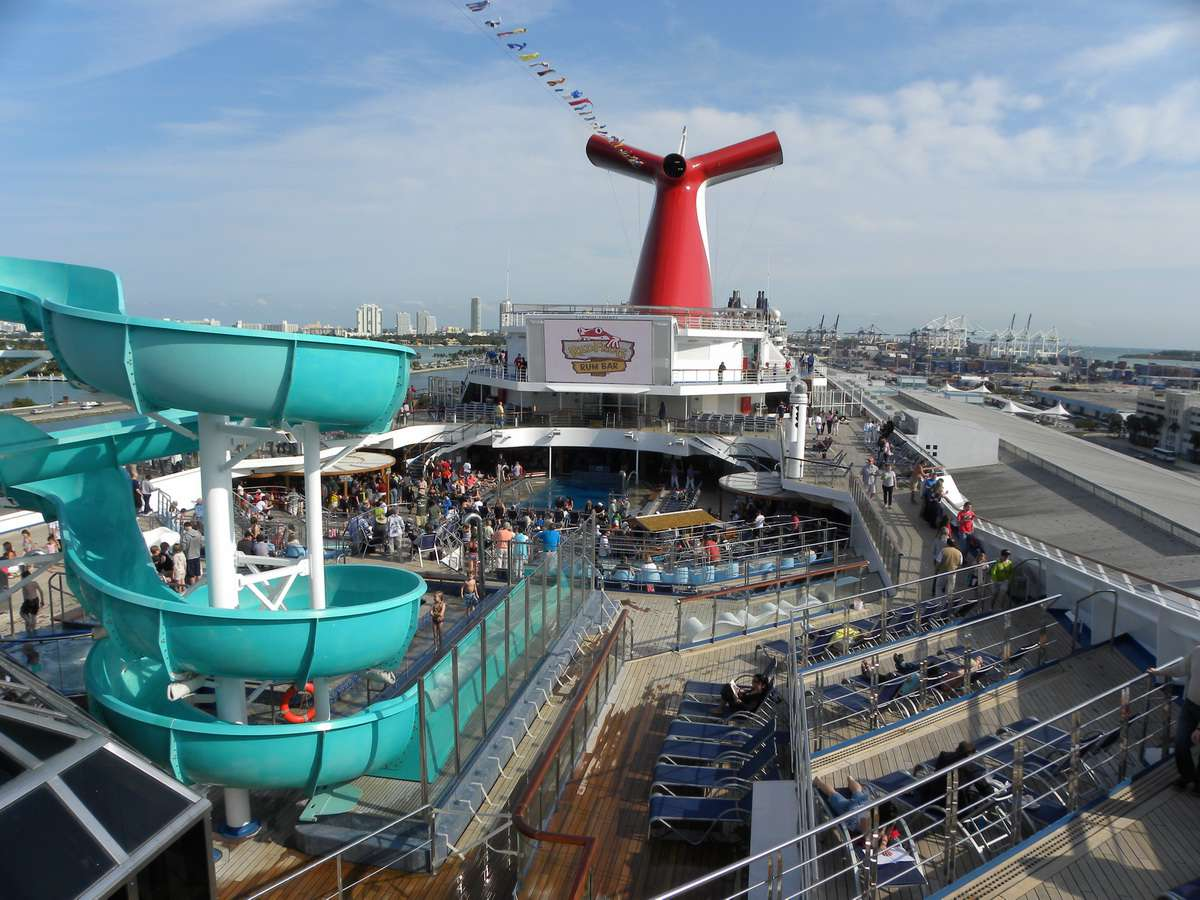 Water slide and outdoor deck area of the Carnival Liberty cruise ship