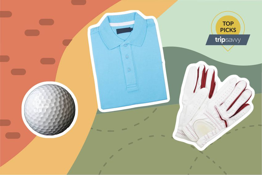 Photo composite of a golf ball, golf shirt, and golf gloves