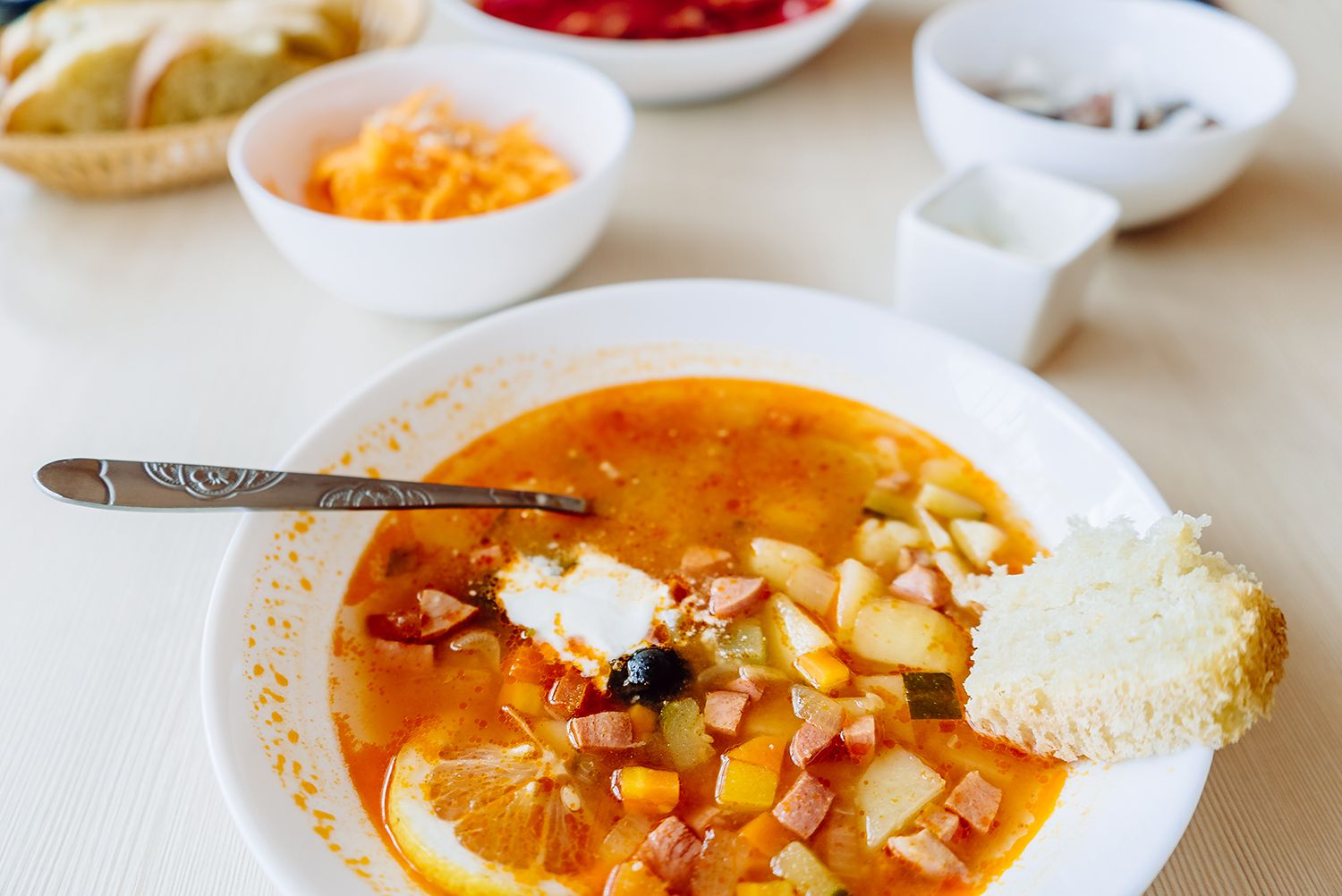 Russian food: Solyanka - spicy and sour soup