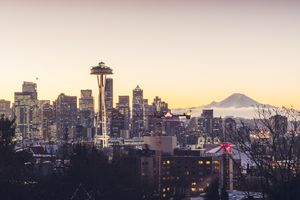 Space Needle and Mt Rainier at dusk in Seattle