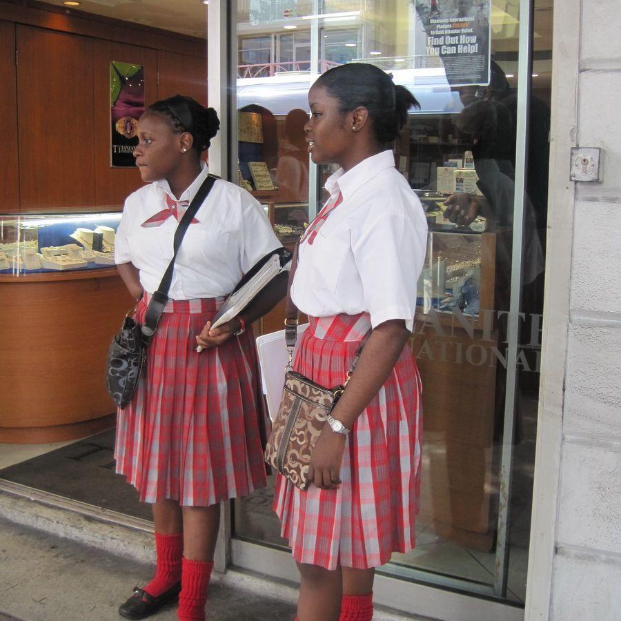 Nassau School Girls in Uniform