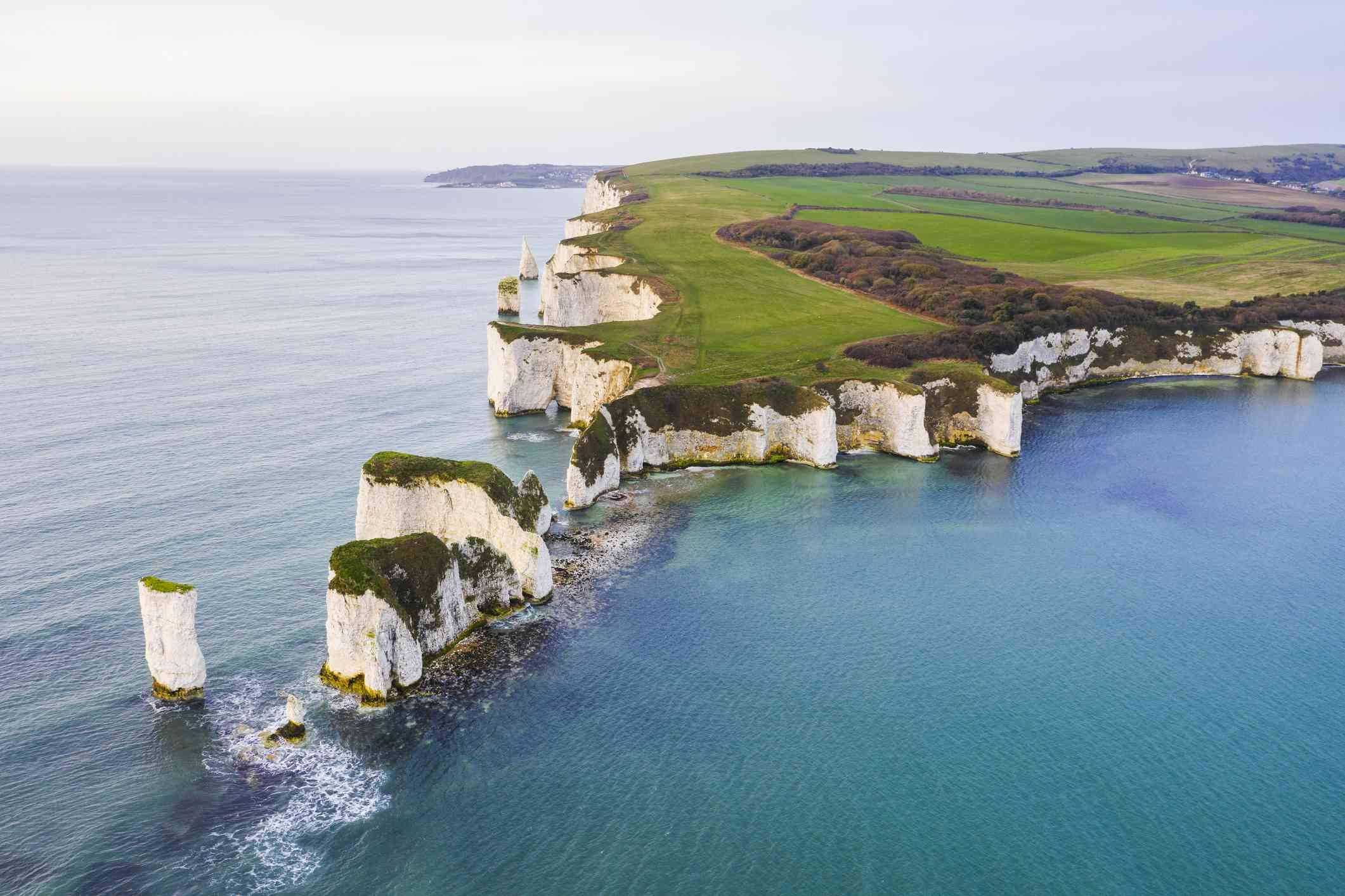 Aerial view of Old Harry Rocks, Dorset, England