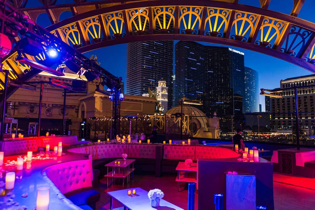 empty outdoor club seating at the Chateau Nightclub in Las Vegas