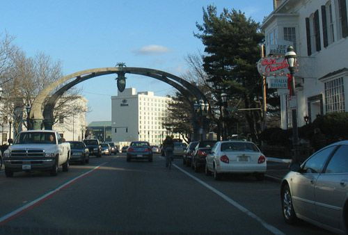 Arch signifies the entrance to Federal Hill, overlooking Providence.