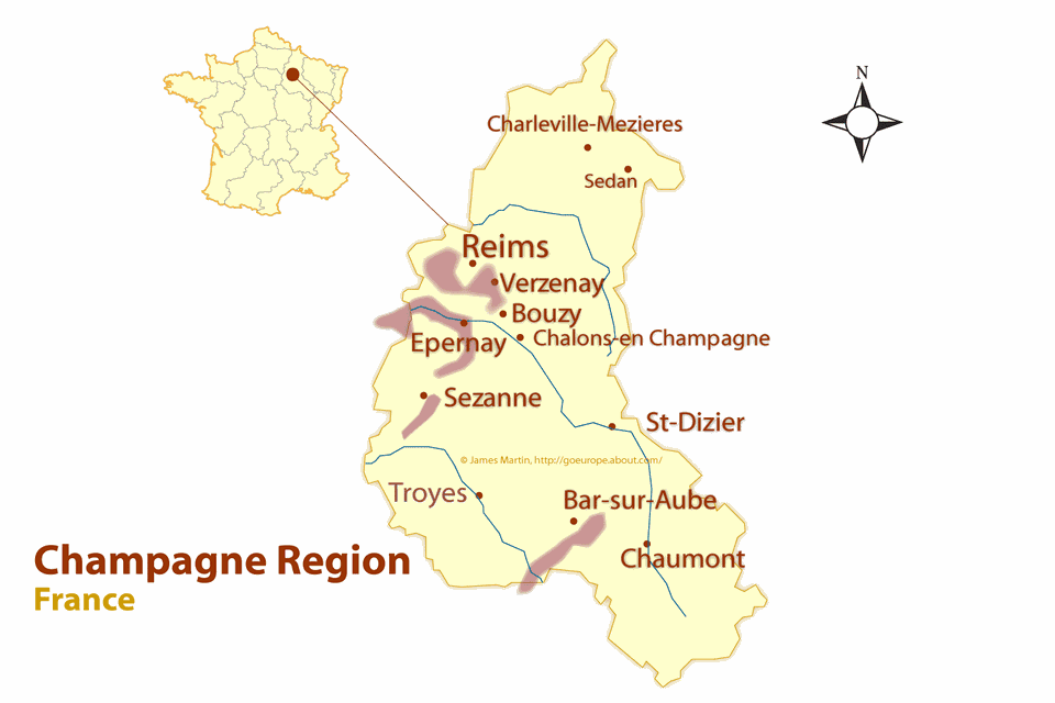 Regions In France Map.Champagne Region Map And Guide To The Best Cities