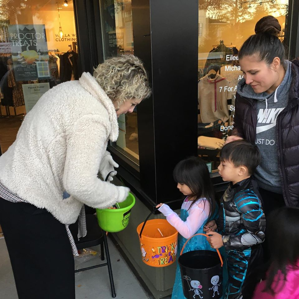 Kids trick or treating in Proctor