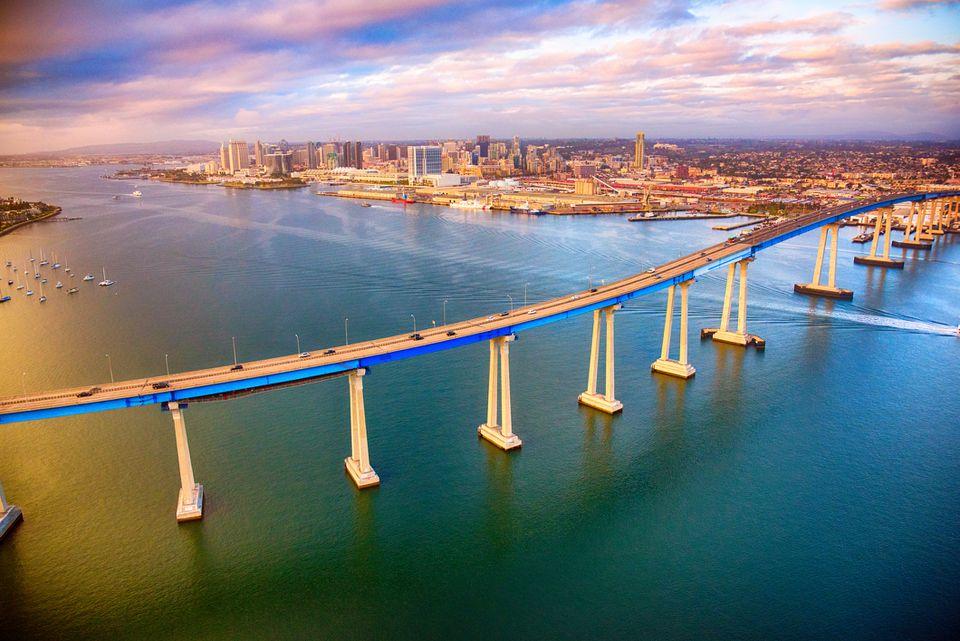 San Diego Skyline Beyond the Coronado Bridge