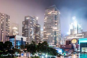 St. Regis hotel exterior on a foggy night in San Francisco