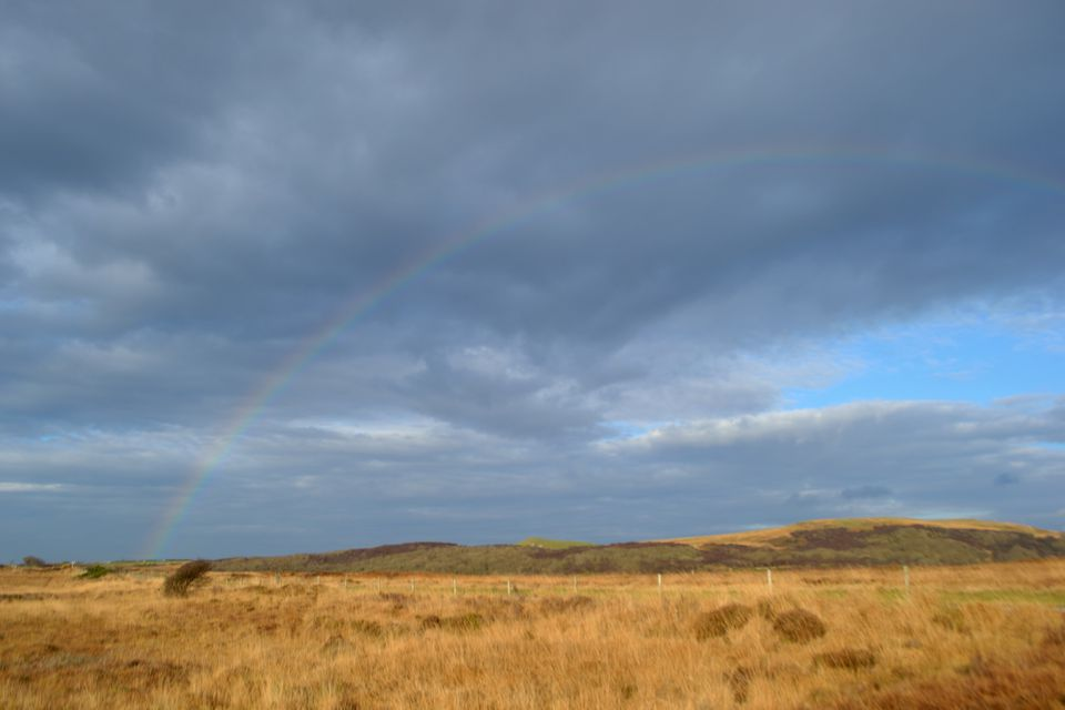 Rainbow over deceptively dry blanket bog on Islay