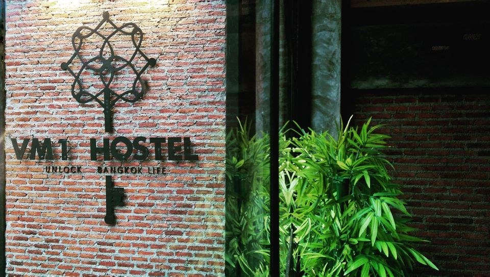 Sign for the VM1 Hostel in Bangkok