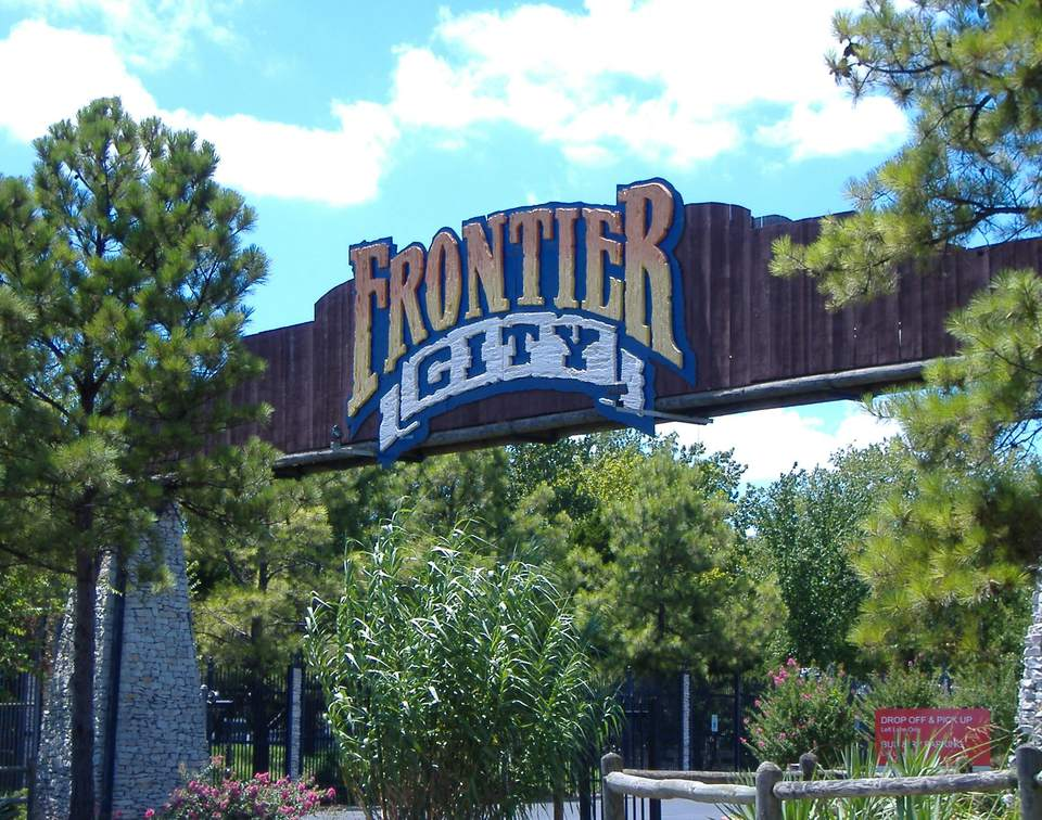 The sign for Frontier City