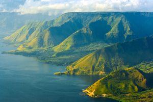 Green shores of Lake Toba in Sumatra