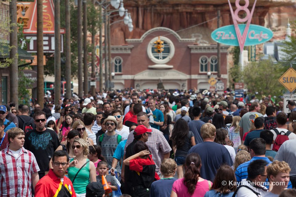 Crowd of people at Disney California Adventure