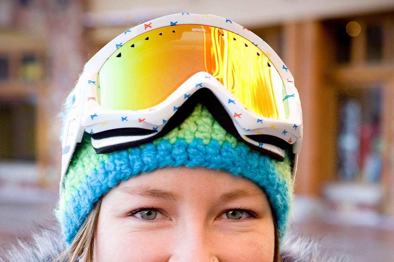 Yellow ski goggles