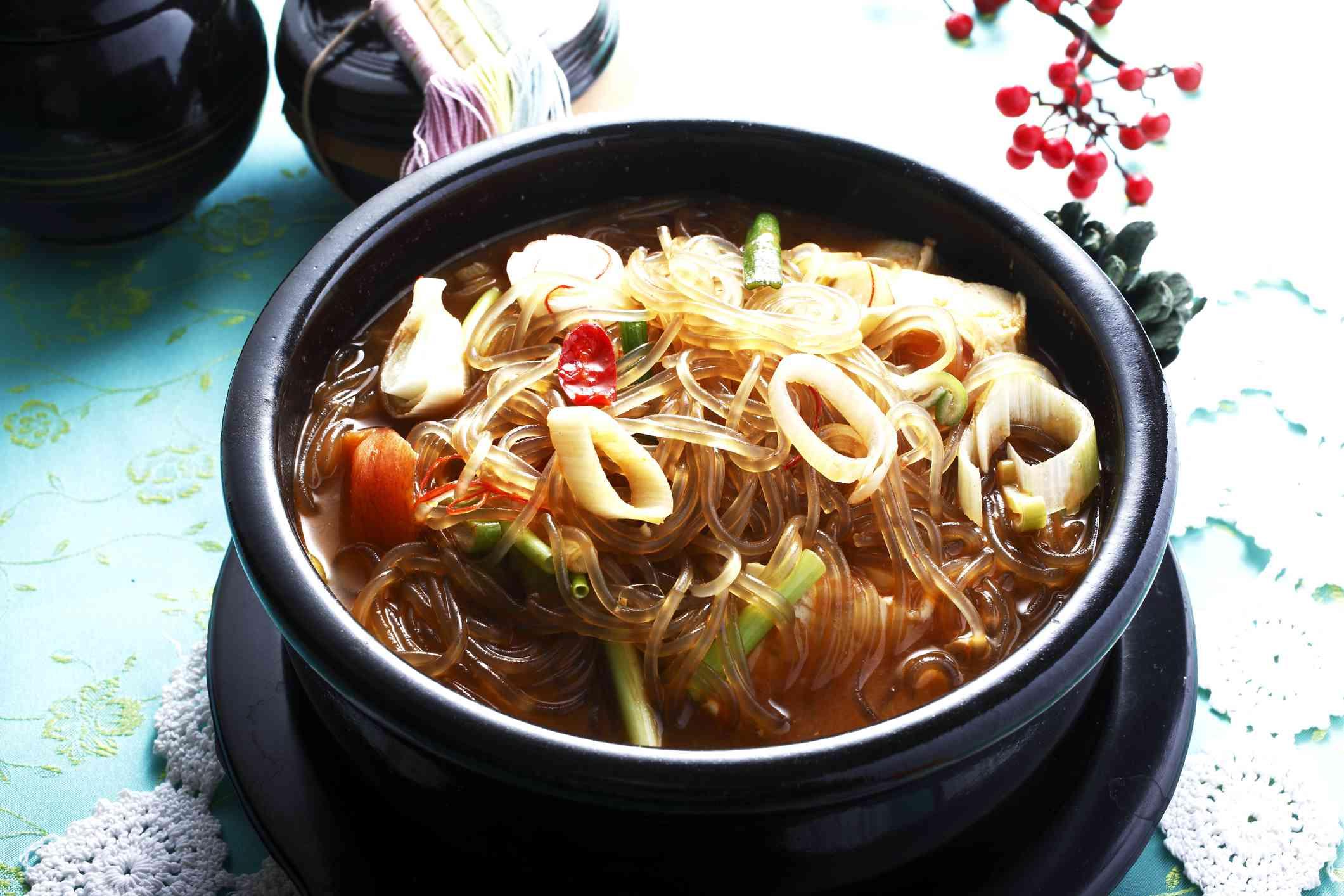 korean food, cellophane noodles