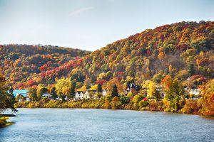 View of Beautiful Autumn Landscape of Warren, Pennsylvania, USA