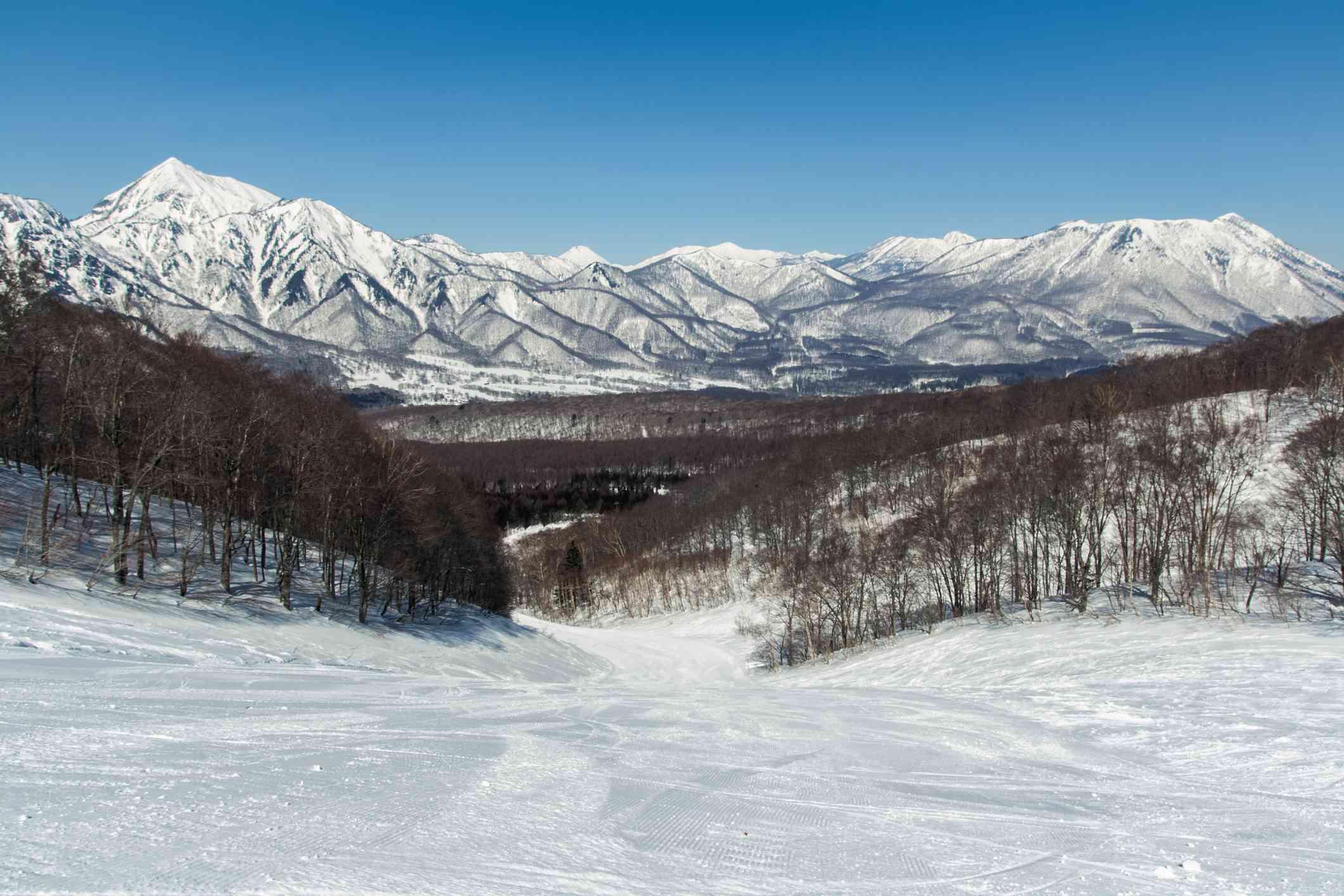 White mountains snow landscape at ski resort in Japan