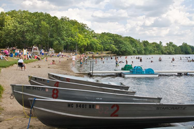 Boats lined up on the shore at Independence Lake County Park