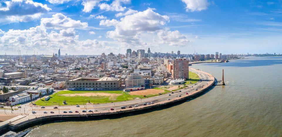 Aerial view, high angle view of Montevideo's coastline, Ciudad Vieja neighbourhood, Uruguay