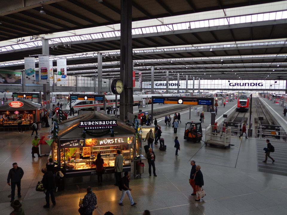 A view on the inside of the München Hauptbahnhof or main train station in Munich Germany.