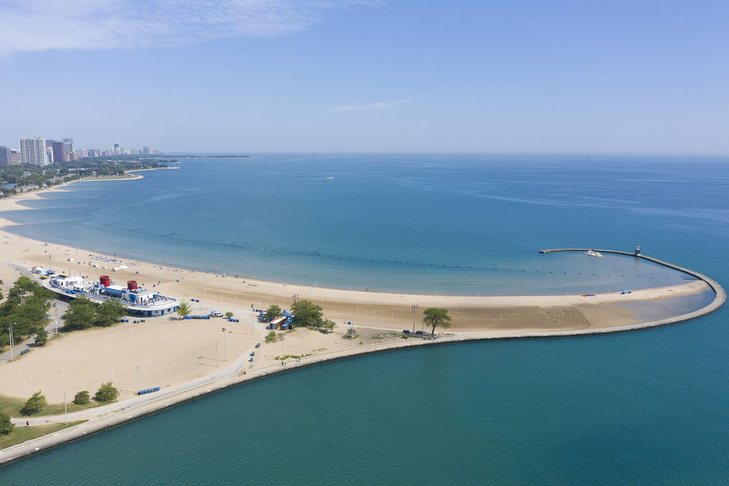Aerial view of North Avenue Beach in Chicago