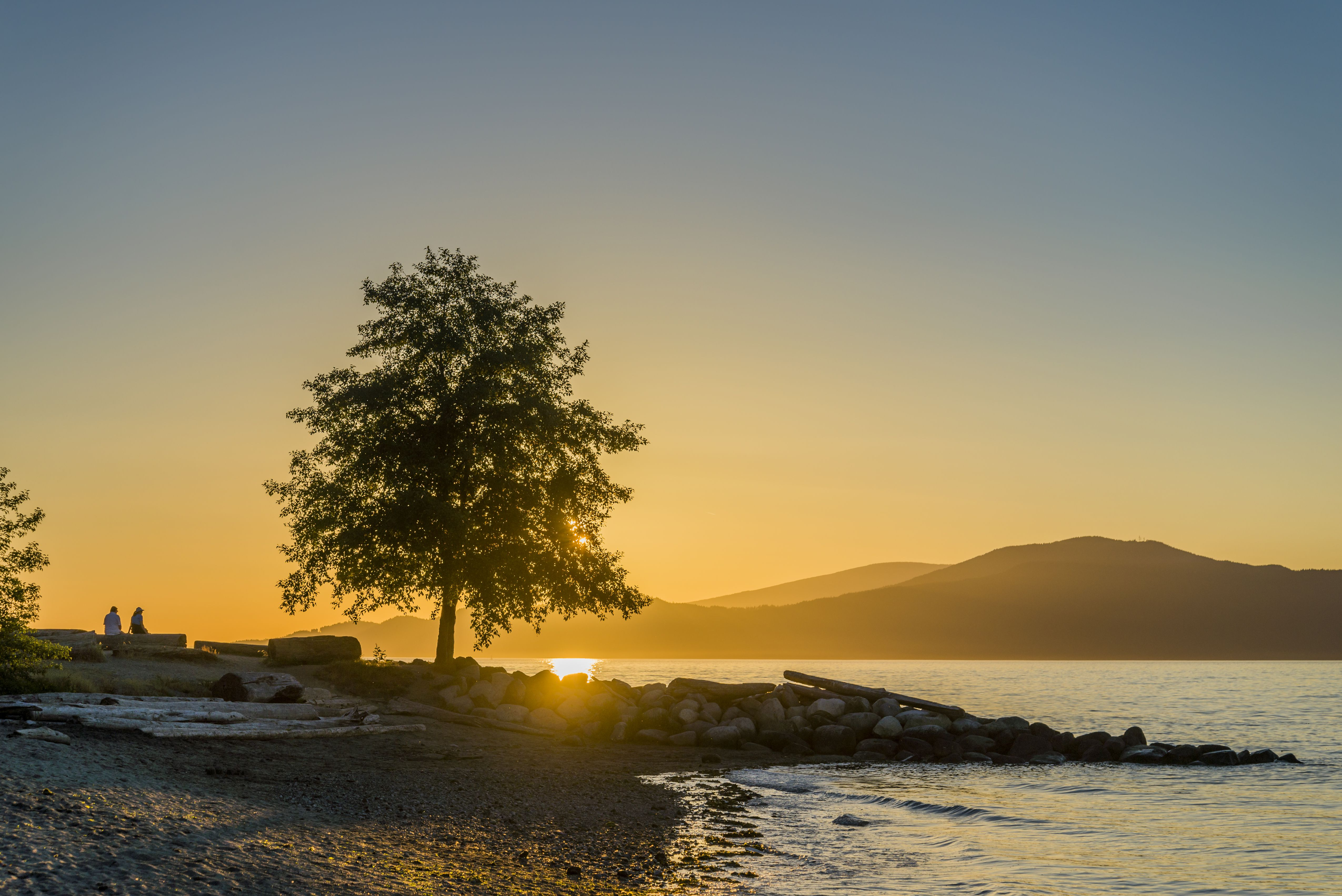 Sunset, Spanish Banks beach, Vancouver, British Columbia, Canada,