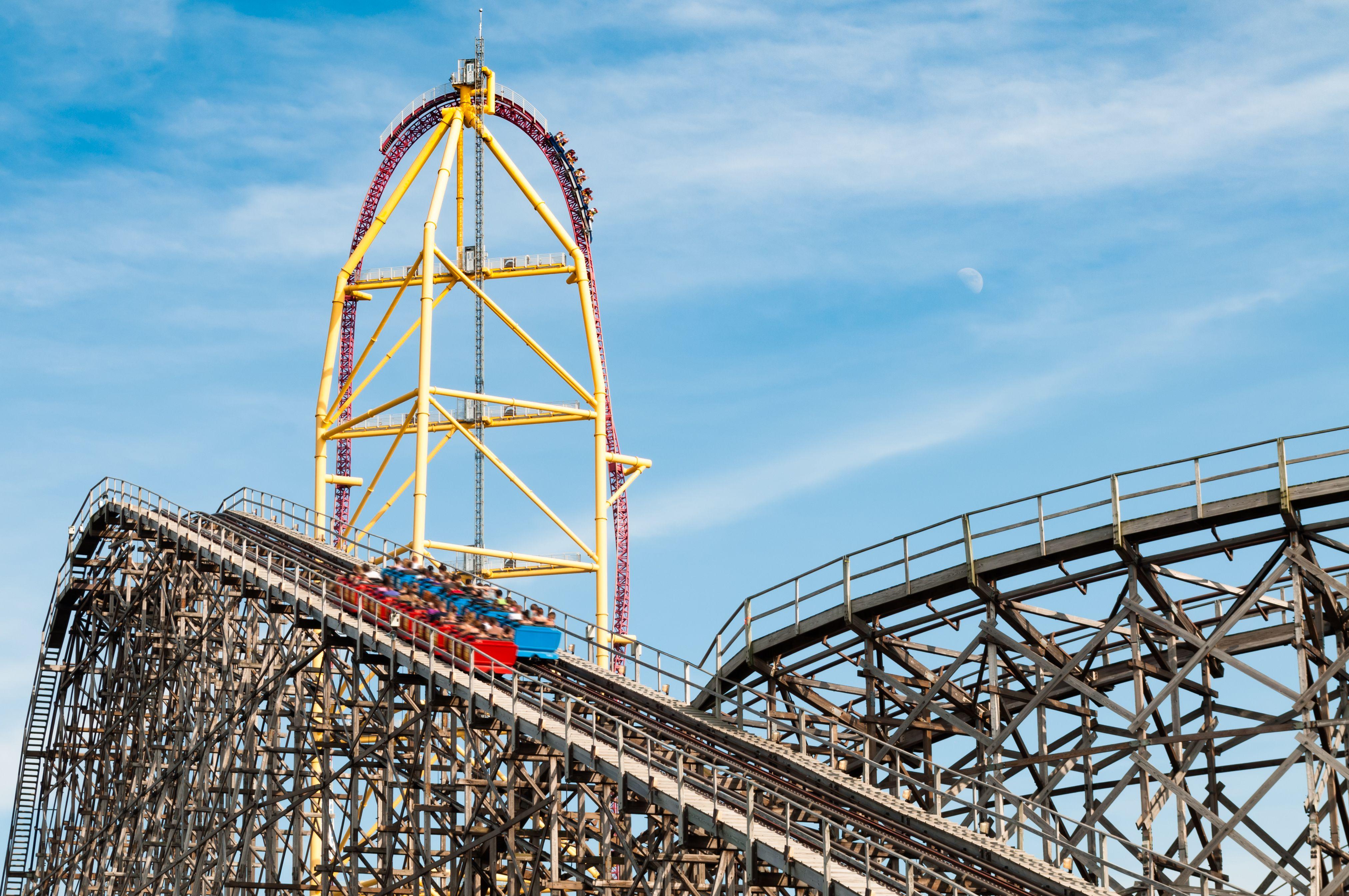 Roller coaster rides at an amusement park