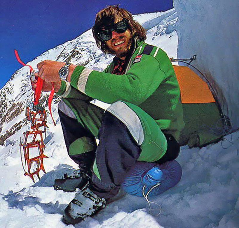 Reinhold Messner on the side of Mount Everest