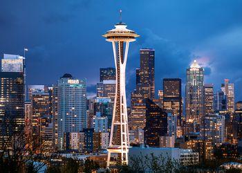 Stormy Sky, Space Needle, Seattle, Washington, America