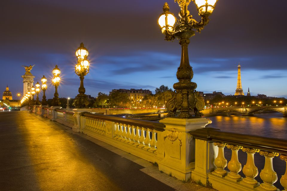 Twilight along Pont Alexandre III over River Seine, Paris, France